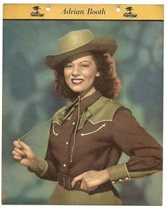Adrian Booth sporting a brown and olive green western outfit, 1940s. #vintage #cowgirls #fashion