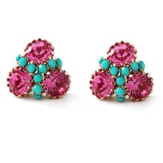 Moon and Lola - Londrina Studs (Hot Pink & Turquoise)