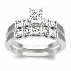 1.00 Carat  Princess cut  Diamond  Bridal Set On 10K White Gold $849.99
