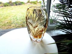 """Premium Quality Hand Made in Portugal 8"""" Oval Vase Amber Trace Crystal"""