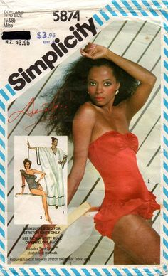 Simplicity 5874 DIANA ROSS Womens Strapless or One Shoulder Swimsuit & Caftan 80s Vintage Sewing Pattern Size 6 8 UNCUT Factory Folded