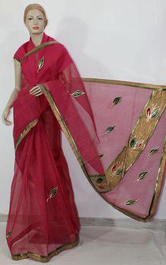 Traditional Kota Cotton Saree (Gota Patti - W/B) 11819