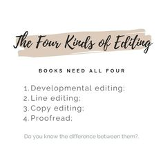 Something important a lot of authors and book reviewers don't know ... the 4 kinds of editing, how they're different and why all are important. Contact me if you need an editor - and let's face it, all authors do!