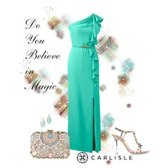 Carlisle | Per Se - Spring 2015: KELLY green one-shoulder evening gown with cascading ruffle.