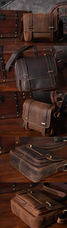7a107b64ccc3 Handmade leather men Briefcase messenger vintage shoulder laptop bag  vintage bag