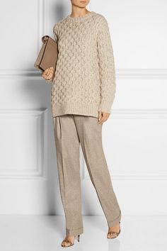 Mélange taupe wool and cashmere-blend Button, concealed hook and zip fastening at front 95% wool, 5% cashmere Dry clean