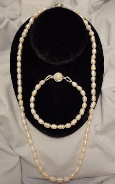 Pearl Necklace,  21-inch Long Freshwater Pearls Set Bracelet #Unbranded