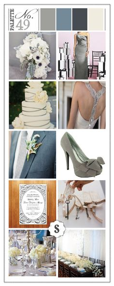 grey and blue wedding colors | Grey and blue wedding color palette by Soiree Event Design ...