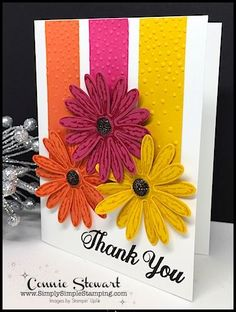 Video - Daisy Delight Thank You Card - Simply Simple Stamping Making Greeting Cards, Greeting Cards Handmade, Karten Diy, Cricut Cards, Stamping Up Cards, Handmade Birthday Cards, Paper Cards, Flower Cards, Creative Cards