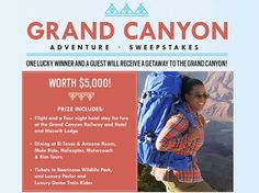 Enter to win free getaway to the Grand Canyon! #Sweepstakes #Daily #Trip #Adventure #Vacation