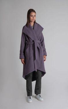 ecab5287815 Пальто шерстяное oversize с широким воротом и поясом Purple Haze  дымчато-лиловое
