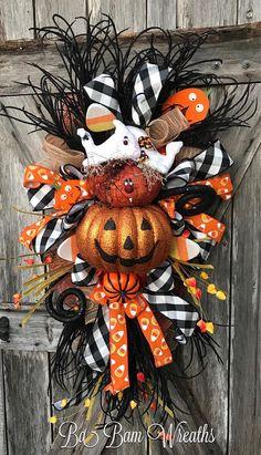 Halloween Mesh Wreath Ghost Wreath Halloween Wreath