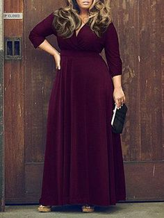 Modern Purple V Neck three/four Sleeve Plus Measurement Skater Maxi Gown