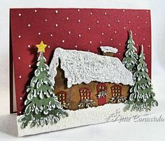 Dies used. Small Winter Cottage & Small Snow Covered Stacker Tree