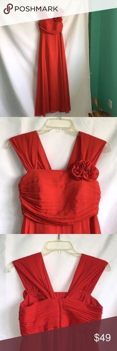 PROM Red Gown This elegant red gown is a custom-made gown with pleats in front and flowers on the left chest area.  Straps are wide enough and comfortable for a whole day or night event.   Zipper closure at the back for ease in wearing.  Gown flows freely like a princess but not bulky to sit on.  Approximate Size 0-2.   Minimal black stains on hem area. (See pics) Please ASK if you have more questions. Dresses Prom