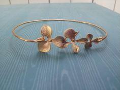 Gold Orchid bangle bracelet