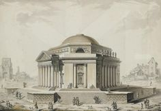 Louis-Gustave TARAVAL (Stockholm 1737/1738 à Paris 1794) Projet d'un temple à trois péristyles alternés par trois pans coupés Aquarelle, plume et encre noire, lavis gris 35,5 x 50,5 cm Signé en bas à… - Millon & Associés - 26/06/2008