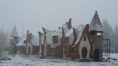 The castle pictured last year when it was still under construction, dusted with an ample smattering of pure winter snow