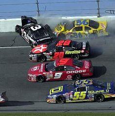 Dale Earnhardt hits the wall hard in the 2001 Daytona Nascar Crash, Nascar Race Cars, Nascar Sprint Cup, Dale Earnhardt Death, Nascar Wrecks, Terry Labonte, The Intimidator, Nascar Diecast, Vintage Race Car