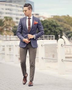 Brown Wool Pants with Blue Check Blazer + Brown Necktie