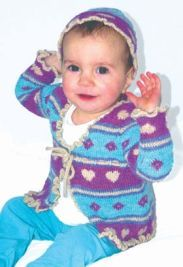 Artesano Queen of Hearts 4ply girls cardigan & mittens