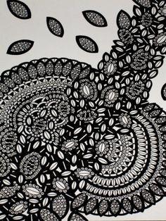 Original Pen and Ink Drawing 2 Semi Circles by gogokittenart