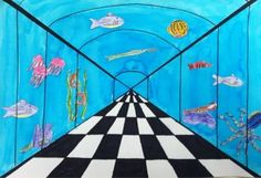 4 or 5- one point perspective under the sea