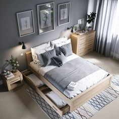 cozy grey and white bedroom ideas; bedroom ideas for small rooms; bedroom decor on a budget; bedroom decor ideas color schemes ideas master on a budget grey ideas for small rooms cozy Small Master Bedroom, Master Bedroom Makeover, Master Bedroom Design, White Bedroom, Modern Bedroom, Contemporary Bedroom, Bedroom Designs, Master Suite, Cozy Bedroom
