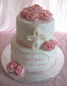 Baptism cake for baby girl. Buttercream icing, buttercream roses, fondant...