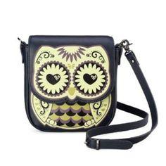 Badier Black Owl Cross Body Shoulder Bag and Purse / Coin Purse
