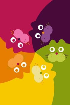 Cats - a humorous, bright rainbow mural.