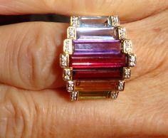 Fabulous Multi Gem Ring with Diamonds in 14k Gold by dmweldin, $588.00