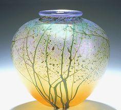 "Art-glass vase entitled ""Sunrise Landscape Vale--Medium Pueblo,"" created by Peet Robison"