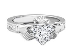 Heart Shape Diamond Claddagh Engagement Ring