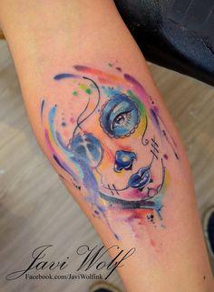 Watercolor Tattoos by Javi Wolf Wolf Tattoos, Body Art Tattoos, I Tattoo, Sleeve Tattoos, Tatoos, Mexican Skull Tattoos, Sugar Skull Tattoos, Unique Tattoos, Beautiful Tattoos
