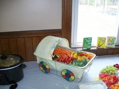 "A creative ""veggie tray"" at a baby shower created by Heather Hunt-John."