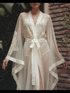 BOUDOIR dress - wedding day lace GOWN - bridal ROBE - morning lingerie - maternity - long beach tulle simple - sexy peignoir for photo shoot Pretty Lingerie, Sheer Lingerie, Luxury Lingerie, Vintage Lingerie, Beautiful Lingerie, Lingerie Dress, Lingerie Sleepwear, Nightwear, Mens Lingerie