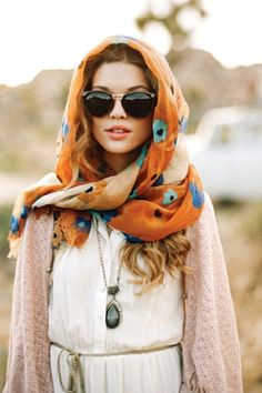 A simple way to dress up your outfit: a silk scarf and a nice pair of sunglasses.  #OOTD #Fashion #LaDolceVita