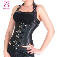 3aaac765b03d0b Womens Gothic Rock Halter Neck Black/Red Faux Leather Underbust Steel Boned  Corset