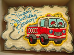 Firetruck Cake - Firetruck  pull apart cupcake cake! White cupcakes, with buttercream icing. Firetruck was my first FBCT.