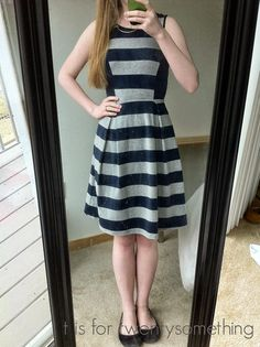 Carissa Striped Fit and Flare Dress | Stitch Fix #2: April 2015 ~ t is for twentysomething