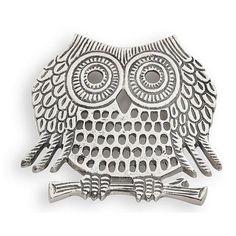 Owl Trivet, Nickel Plated Cast Aluminum