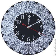 """Купить """"Вятские кружева"""" - 2 часы настенные интерьерные - чёрно-белый, часы, часы настенные"""