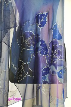 Blue roses/Painted silk scarf/Hand Painted Silk scarf/Woman