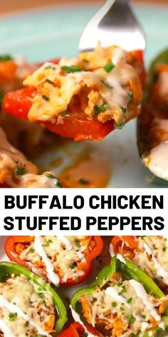 Buffalo Chicken-Stuffed Peppers - Spice up your stuffed pepper game! Easy Pasta Recipes, Easy Chicken Recipes, Cooking Recipes, Easy Meals For Kids, Quick Meals, Buffalo Chicken, Best Dinner Recipes, Lunch Recipes, Recipes For Beginners