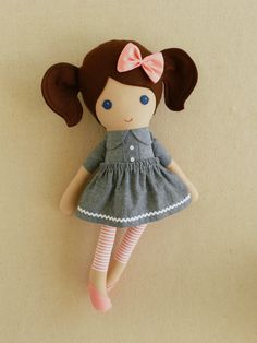 Fabric Doll Rag Doll Brown Haired Girl in Blue-Gray by rovingovine