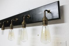 Bathroom Vanity Lamp - Antique Brass Lighting - Vanity lighting - Edison Bulb Lamp - Bathroom Light fixture - Customizable by PartyandHomeDesign on Etsy Vintage Bathroom Lighting, Industrial Bathroom Lighting, Best Bathroom Lighting, Vintage Light Fixtures, Bathroom Light Fixtures, Rustic Lighting, Vanity Lighting, Bathroom Vintage, Lighting Ideas