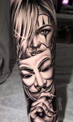 """50 Eye-Catching Lion Tattoos That'll Make You Want To Get Inked - schöne Ideen für die Tätowierung """"Day of the Dead"""" Tätowiererin Iva Chavez - Gangster Tattoos, Jj Tattoos, Chicano Tattoos Gangsters, Hand Tattoos, Chicano Tattoos Sleeve, Forarm Tattoos, Cool Forearm Tattoos, Best Sleeve Tattoos, Tattoo Sleeve Designs"""