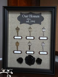Lookie What I Did: Our Homes....A Shadowbox of Keys  Wonder if I could find a shadow box big enough to hold all of our keys!  LOL