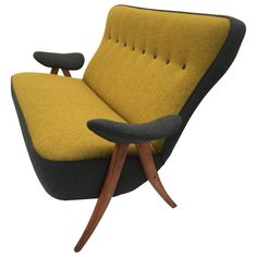 Stunning Theo Ruth Model 105 'Hair Pin' Sofa for Artifort with Kvadrat Wool | From a unique collection of antique and modern loveseats at https://www.1stdibs.com/furniture/seating/loveseats/